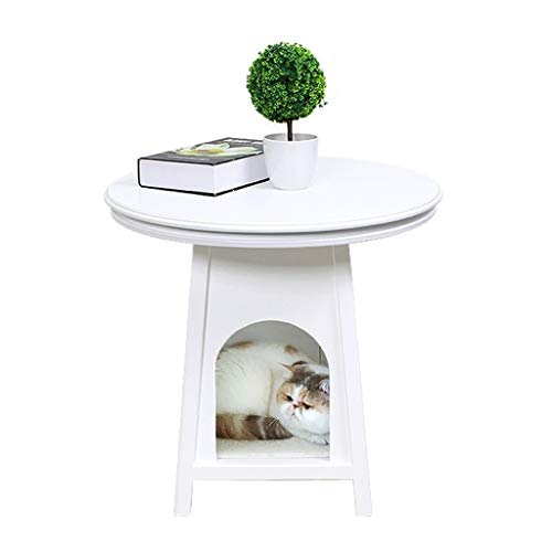 Hundehütten Ndoor Cat Nest Four Seasons Allgemeine Teddy Haus Geschlossen Personen Haustier Geteilt Couchtisch American Small Garden Animal House ( Color : Weiß , Size : 60*60*60.5cm )