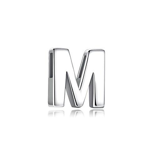 Ciondolo con Iniziale Argento 925 Pendente Personalizzata Alfabeto Nome A-Z Collana Lettera Piccola Donna Uomo (Lettera M)