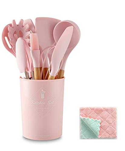Juego de 11 utensilios de cocina de silicona antiadherente, juego de utensilios para espátula, herramientas resistentes al calor, con mango de madera y paño de plumero (rosa)