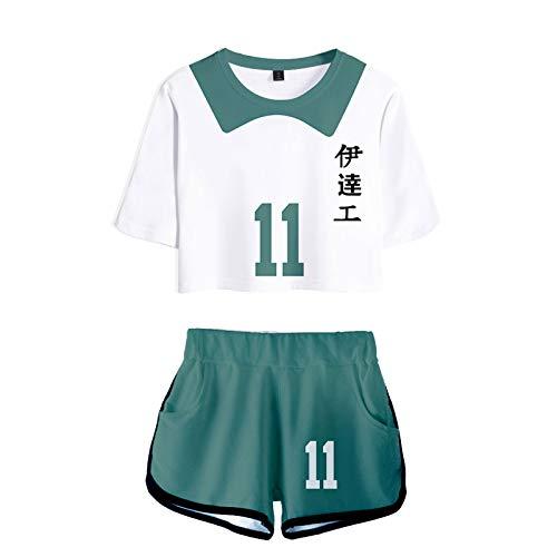 YZJYB Haikyuu!! TO The Top Camiseta Cosplay Verano Corta Blusa Tshirt Manga Corta Shorts Traje Disfraz Casual para Mujeres Nekoma High School Volleyball Uniform Jerseys,XXX~Large