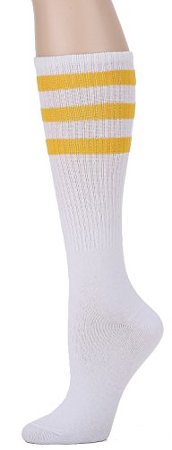 Leotruny Over the Calf Tube Socks (White/Yellow)