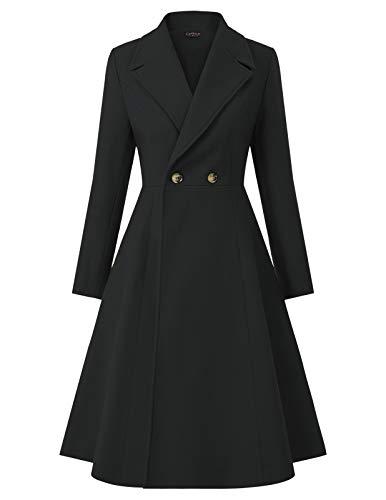 Women's Trench Coat Lapel Double Breasted Long Swing Pea Coat Black L