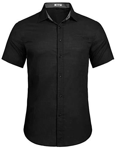Aibrou Herren Hemd Slim-Fit Kurzarm Freizeit Business Party Shirt (schwarz, Large)