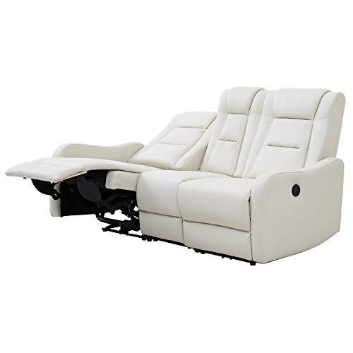 モダンデコ 電動リクライニングソファー 3人掛け 幅171cm (ホワイト)