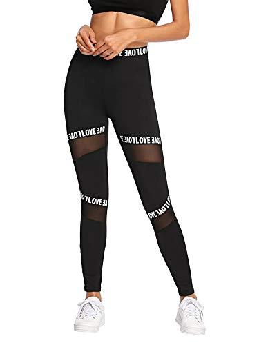 SOLY HUX Damen Sportlich Leggings Mesh Netz Leggins Bunt Sporthose Jogger Fitnesshose Sweathose Schwarz XS