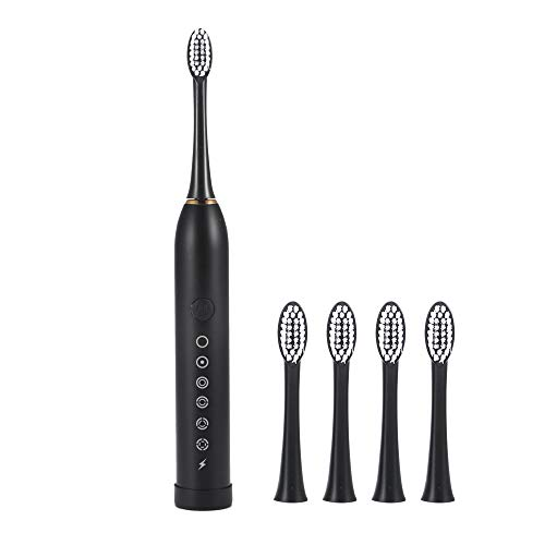 Electric Toothbrush Oral Care Sonic Toothbrush, Smart Automatic Tooth Brush with Six Vibration Modes 4 Replacement Heads Black USB Charging Adjustable Strength