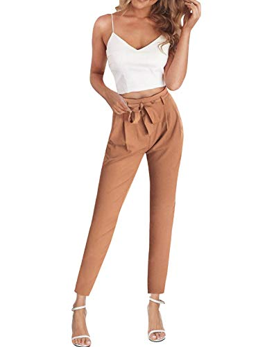 FANCYINN Jumpsuit Zweiteiler Damen 2 Teiler Crop Top und Hose Elegant Party Sommer Outfits,L,Khaki
