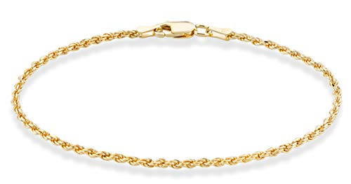 Miabella 18K Gold Over Sterling Silver Italian 2mm, 3mm Diamond-Cut Braided Rope Chain Anklet Ankle Bracelet for Women Teen Girls 9, 10 Inch 925 Made in Italy (9, 2mm width)