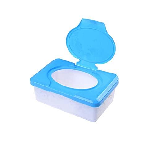Caja organizadora de toallitas húmedas de plástico para toallitas húmedas, color azul