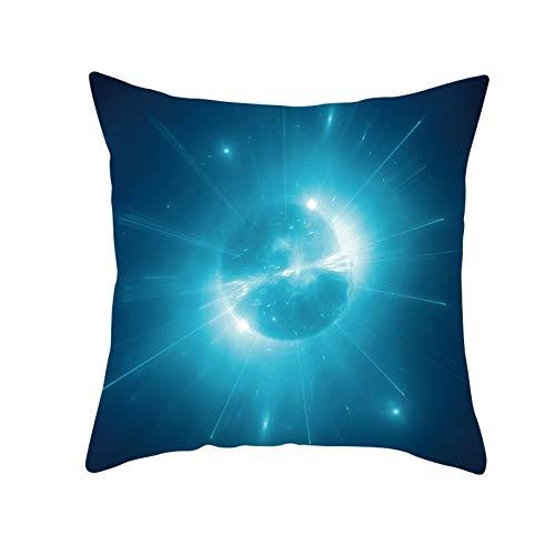 Funda de Cojín Decorativos Funda de Almohada Planeta azul Cuadrado Terciopelo Suave Cojines Decoracion con Cremallera Invisible para Sofá Cama Decor Hogar Funda de Cojín M860 Pillowcase+core,50x50cm
