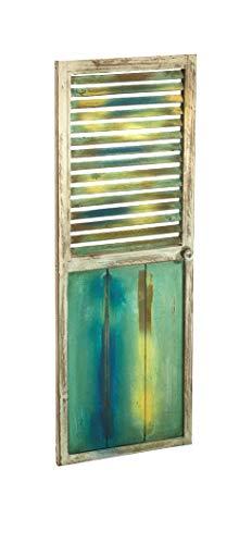 Kobolo Deko-Fensterladen Zier-Fensterladen Tür mit Lamellen - 35x90 cm - Vintage - bunt