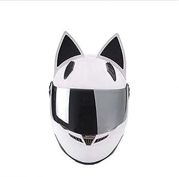 Nitrinos White Full Face Motorcycle Street Helmet Cat Helmet with Ears Neko Cat Ears Helmet  M
