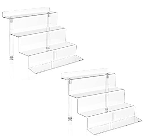 WINKINE Estantería de acrílico de 4 niveles para escaleras Amiibo Funko POP, soporte de postre...