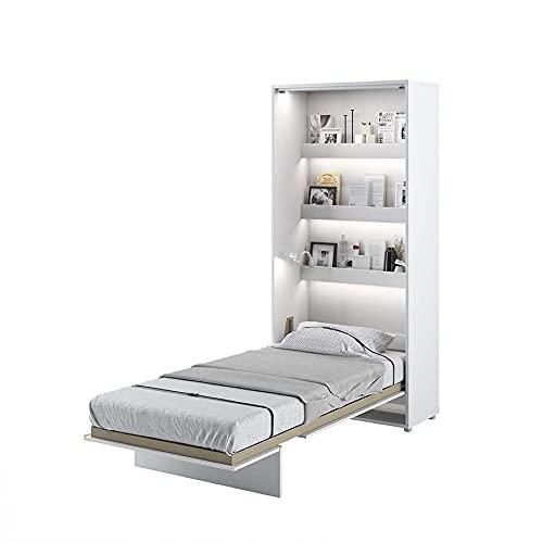 LENART Bed Concept - Cama plegable vertical (90 x 200 cm), color blanco