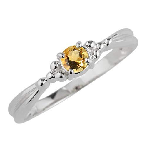 (リュイール) 指輪 レディース 人気 シトリン リング 人気 リング 一粒 カラーストーン 指輪 誕生石シンプル 10金 k10ホワイトゴールド サイズ 10.5号