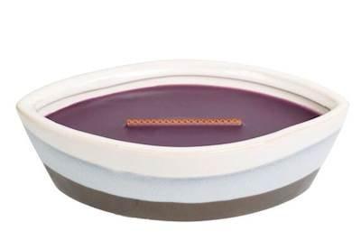 Woodwick Feige Dekorative Duftkerze im Keramikgefäß 385.6 g, Keramik, Violett/Weiß/Blau, 11.8 x 8 x 6.8 cm