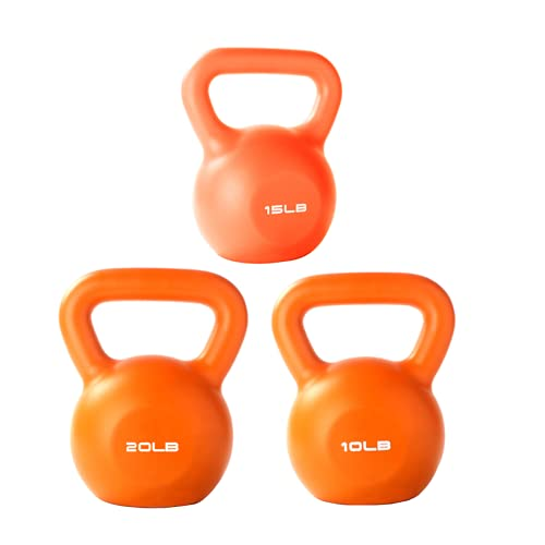 Shmtfa 10/15/20lb Kettlebell Weight, 3Pcs Strength Training Kettlebells,PVC Hand Grip Kettlebell Workout Exercise Equipment for Women/Men/Beginner/Home Gym/Cross Training Fitness