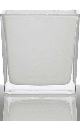 INNA-Glas Lot 2 x Pot de Fleurs Kim, Cube - carré, Blanc, 14x14x14cm - Verre à Bougie - Mini Cache-Pot