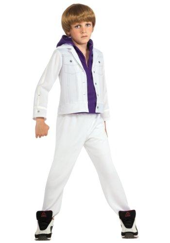 Justin Bieber - Disfraz infantil con capucha y capucha, talla M 8-10, color blanco y morado
