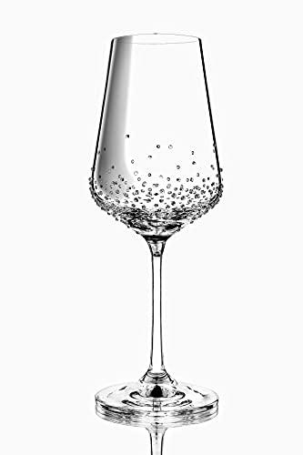 Par de copas de vino AMON de 350 ml refinadas con cristales de Swarovski, cristal de Bohemia hecho a mano
