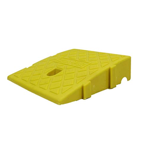 Multifunctionele kunststof velgen, graanoppervlak antislip stappenblok Truck kleine winkelwagen rolstoel hellingbanen hellingspad 25 * 27 * 11cm Geel