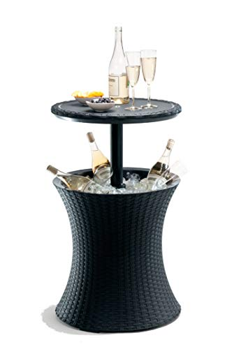 Keter Pacific Rattan Style Outdoor Cool Bar Ice Cooler Table Garden Furniture - Anthracite