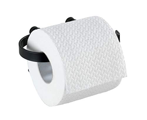 WENKO toiletrolhouder Classic Plus Black - rolhouder met hoogwaardige bescherming tegen roest, staal, 15 x 7,5 x 10 cm, zwart