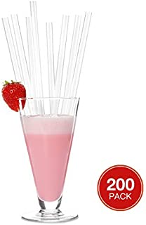 Plastic Drinking Straws, Extra Long, Clear, Individually Wrapped drinking Straws 10 1/4 inches long, BPA Free, Restaurant Grade,200 Pack Disposable Straws