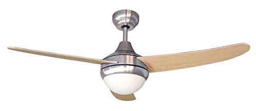 AIR & LIGHT KUMBA - Ventilateur de plafond - Diamètre 122 cm - 60 Watts - Débit d'air : 6972 m3/h - 3 vitesses - 3 pales réversibles - Télécommande - Avec Eclairage