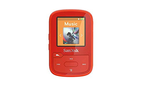 SanDisk 16GB Clip Sport Plus MP3 Player, Red - Bluetooth, LCD Screen, FM Radio -...