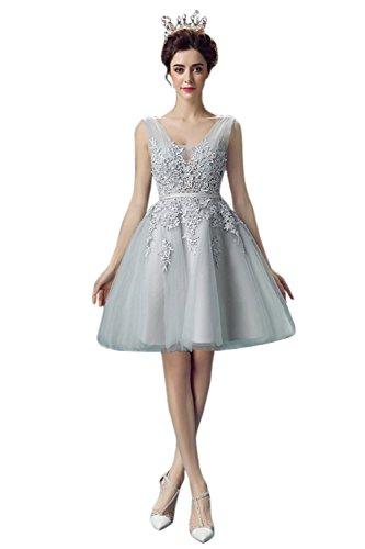 Damen Mädchen Spitze Brautjungfernkleid V-Ausschnitt Brautkleid kurz rückenfrei Grau 34