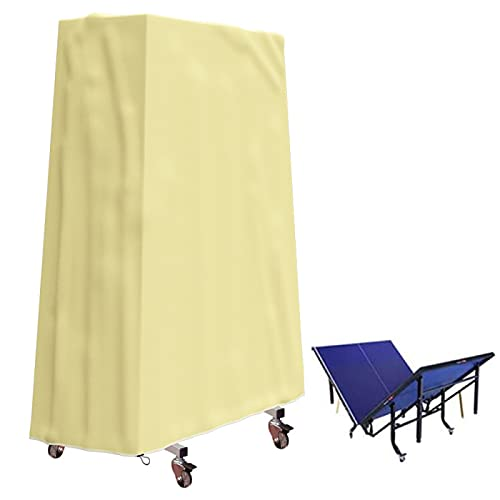 Cubierta de Mesa de Ping Pong Impermeable Al Aire Libre, Cubierta Impermeable Para Tenis de Mesa Al Aire Libre a Prueba de Rasgaduras 210D, Cubierta de Mesa Plegable de Ping Pong,Beige-65x27.5x72.8in