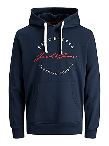 Jack & Jones JJHERRO Sweat Hood Sudadera con Capucha, Azul Marino, XL para Hombre