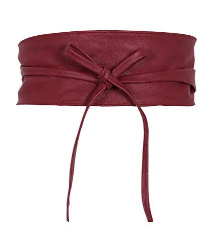 KRISP Cinturón Mujer Ancho Corsé Atado Cordón Cuero De Imitación, Burdeos, 14987-WIN-OS