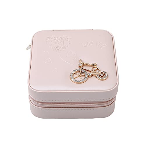 MNSYD Schmuck Ohrringe Aufbewahrungsbox Pu Leder Stilvolle einfache Uhr Display Schublade Gehäuse Organizer Uhr Vitrine,Nacktes rosa Fahrrad