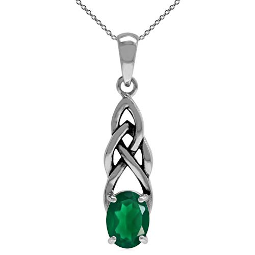 Silvershake 1.12ct. Natural Emerald Green Agate 925 Sterling Silver Celtic Knot Pendant with 18 Inch Chain Necklace