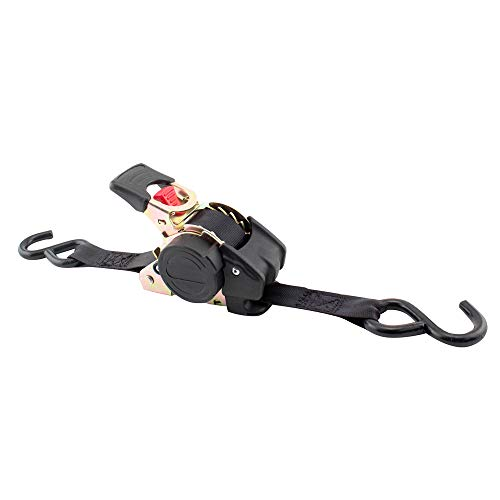 """Erickson 34415 Pro Series Black Retractable Ratcheting Tie-Down Strap (Pack of 2, 1"""" x 10')"""