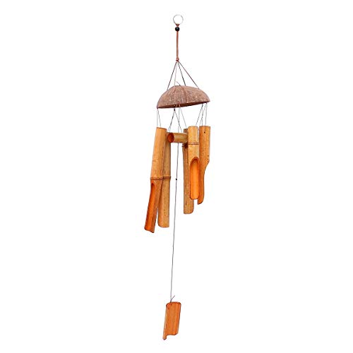 Windspiel für Draußen - Glockenspiel für Garten und Balkon - Holz Klangspiel mit Kokosnuss und tollem Klang - sorgt für eine beruhigende und entspannte Atmosphäre (Hell)