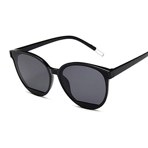 JXZPL Moda Gafas de Sol Mujer Vintage Metal Espejo Clásico Vintage Gafas de Sol Femeninas UV400 Gafas (Lenses Color : Black Gray)