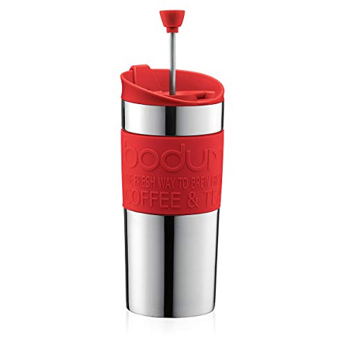 Bodum TRAVEL PRESS Kaffeebereiter (French Press System, Doppelwandig, 0,35 liters) rot