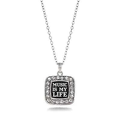 Inspired Silver - Music is My Life Charm Necklace for Women - Silver Square Charm 18 Inch Necklace with Cubic Zirconia Jewelry