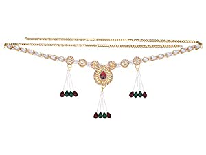 Archi Collection Traditional Gold Plated Kundan Stone Pearl Tassel Kamarband Waist Chain for Women