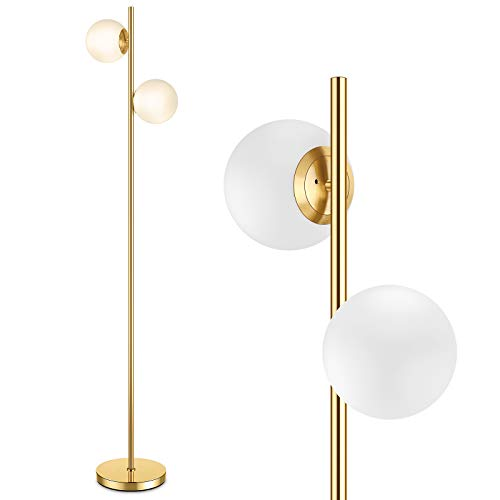 Mid Century Modern 2 Frosted Glass Globe Floor Lamp for Living Room,Contemporary LED Standing Light, Gold Corner Pole Lamp for Office Bedroom, Study Room, Hotel, Antique Brass Standing lighting