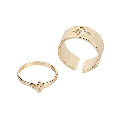 Jiaojie Creative Rings 1 par de anillos a juego para parejas, anillos de compromiso para hombres, mujeres, bodas, fiestas, regalos