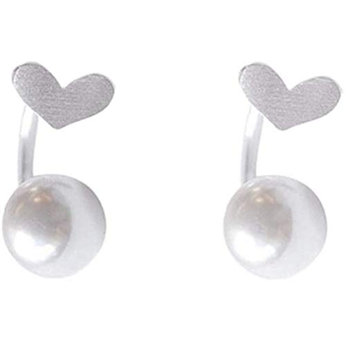 Love Heart Half Huggie Hoop Ear Jacket Cuff Stud Earrings for Women Girls 925 Sterling Silver Fashion Cartilage Faux Pearl Drop Dangling Curved Studs Nickel Free Wedding Brithday Christmas Gifts