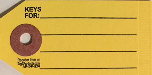 Key Tags with Rings - Yellow - 1000 Qty. DP-820 (P4)
