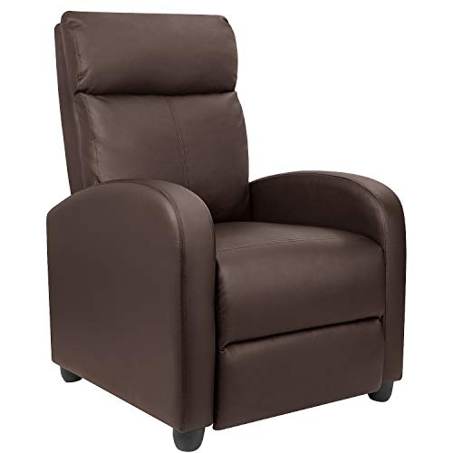 Furniwell Recliner Chair Massage Home Theater Seating Wing Back PU Leather Modern Single Living Room Reclining Sofa with Footrest (Brown)