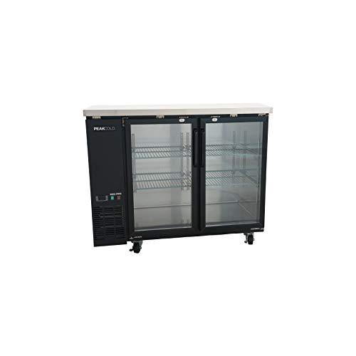 "PEAK COLD 2 Glass Door Commercial Back Bar Cooler; Beer Fridge; Under Counter Refrigerator; 48"" W"
