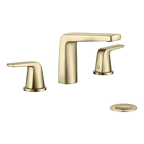JAKARDA 8 inch 2 Handles Widespread Bathroom Faucet 3 Holes with Pop up Drain Assembly and Water Supply Lines (Brushed Gold)