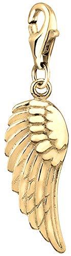 Nenalina Flügel Charm vergoldet aus 925 Sterling Silber für Damen, Engelsflügel Symbol, passend für alle gängigen Charmträger und Bettelarmband, Farbe Gold, 0401542119